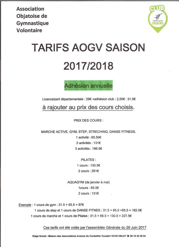 tarifs Association Objatoise de Gymnastique Volontaire - AOGV