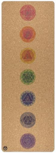 Chakra ; tapis de yoga en liège naturel